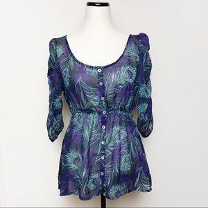 NWT Ali & Kris Sheer Floral Button Up Top